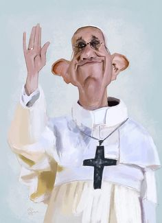 Pope/ Papa Francisco l by Olle Magnusson Funny Caricatures, Celebrity Caricatures, Celebrity Drawings, Papa Francisco, Cartoon Faces, Funny Faces, Caricature Drawing, Classic Paintings, Funny Art