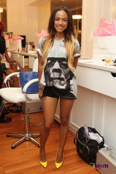 Saturday Style: Looks For Less: Karrueche Tran At Vibe Vixen Just Extensions Beauty Event In Christopher Kane Frankenstein Print T-Shirt