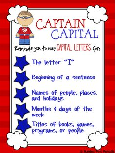 Captain Capital to the capitalization rescue.  Let CC teach your kiddos all about following capitalization rules with this packet full of cooperative learning activities. $