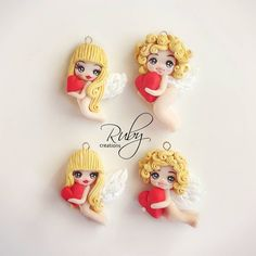 4 little cupids, polymer clay necklaces. Waiting for Valentine's day :)  Info: Facebook private message  #cupid #valentine #valentinesday #polymerclay #fimo #girl #boy #mini #artist #cute #heart #miniature #doll #amor #love #angel #wings #handmade #craft #necklace #pendant #jewelry #sale #gift #design #instagood #instalove #instalike #jewelrygram #rubycreations