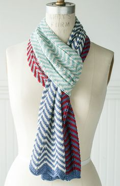 Free Knitting Pattern for 2 Row Repeat Easy Striped Chevron Scarf - Two row repeat stripes zig-zag off your needles in an easy-to-memorize chevron pattern paired with alternating color blocks. DK weight yarn. Designed by Churchmouse Yarns & Teas. Rated very easy by Ravelrers. Great for mini skeins or stashbusting. Perfect summer or spring scarf.