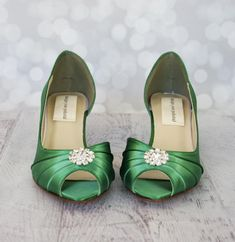 fcce78844b4 Green Wedding Shoes -- Emerald Kitten Heels with Rhinestone Adornment