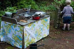 Backyard kitchen/mudpie bakery (pic from Sew Liberated). Upcycle/thrift old utensils, etc. (Duh! Best idea ever!)