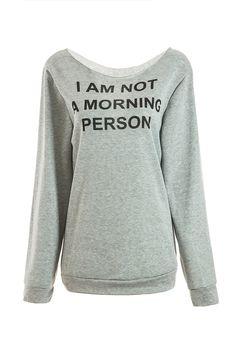 Chic Women's Jewel Neck Long Sleeve Letter Pattern Sweatshirt