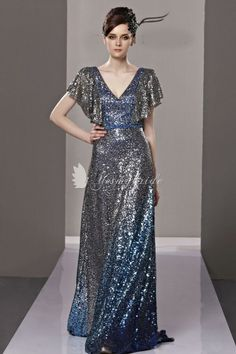 shining overlay beading sheath long evening dress with v-neckline and flutter sleeves