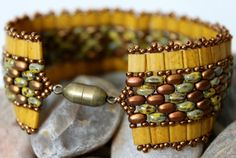 Miyuki Tila Beads ~ 5mm Mustard SuperDuo Seed Beads ~ 2/5mm Opaque Yellow Picasso; 2/5mm Matte Metallic RainbowMiyuki Rocaille Beads ~ 11/0 Bronze Clasp ~ Magnetic Antique Gold