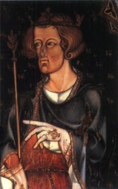 "King Edward I - 1272-1307 He was called ""Longshanks"" - he was very tall, strong & lucky. He was devoted to his wife & when she unexpectedly died, had 12 memorials built all over London to honour her. From a painting in the sedilia of Westminster Abbey."