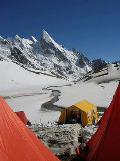 "A camp site just under Beautiful ""Lalia Peak"" Baltoro Glacier Pakistan"