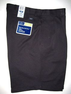 Dockers Microfiber Golf Shorts Pleated Relaxed Fit No Wrinkle 34 Black NEW #DOCKERS #Shorts