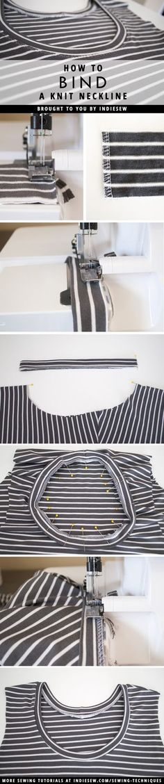 Finish your knit garments with professional looking necklines! This post covers the step-by-step process. | Indiesew.com