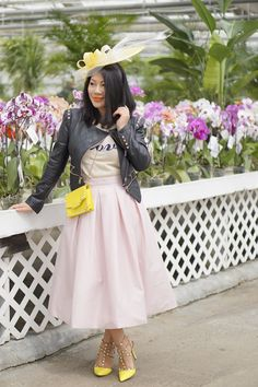 2016 Spring petite fashion street style yellow derby hat + black studded leather jacket + WHBM blush full skirt + Yellow studded heels + yellow studded small leather cross body bag