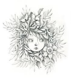 emmanuelle colin © Signed print of an original drawing in graphite on paper Approximate size Digital print on paper Lana 220 Coloring Pages To Print, Adult Coloring Pages, Coloring Books, Art And Illustration, Art Du Croquis, Art Mignon, Fairy Drawings, Pencil Drawings, Dibujos Cute