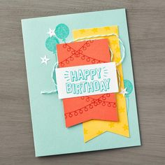 We're loving this brightly colored birthday card that will work for anyone celebrating their special day. You can make your own card just like this one with the Confetti Celebration stamp set. #stampinup