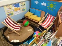 This seaside inspired reading area looks like one of the most relaxing places for children to read their favourite books! Decorated with twinkl posters! Reading Corner Classroom, Classroom Games, Classroom Design, Book Corner Eyfs, Classroom Door, School Displays, Classroom Displays, Beach Reading, Kids Reading
