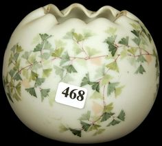 Mt Washington Glass; Satin, Rose Bowl, White with Green maiden Flower Decor, 5 Inch DOA.