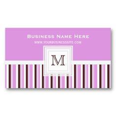 Neopolitan Striped : Monogram Business Card