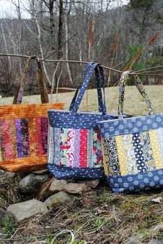 PDF Patchwork Tote Bag PATTERN Large Quilted Tote Mary