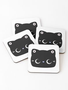Star Kitty Cat Coasters | Elke + Blue collection by MeetMinnie #cute #kawaii #coasters #party #cat #cats #halloween #trickortreat