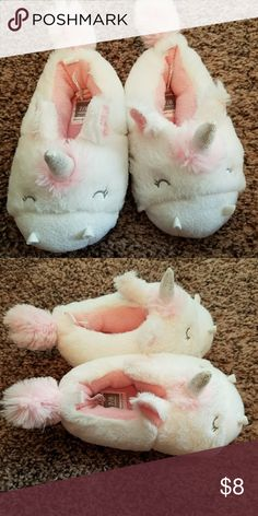 Little Girls Unicorn Slippers Size 7/8 toddler unicorn slippers. Super soft and super cute!!  Never been worn. Carter's Shoes Slippers