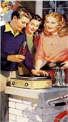 Old Coca Cola Ad ~ Playing records & drinking Cokes Vintage Advertisements, Vintage Ads, Vintage Posters, Vintage Signs, Kitsch, Coca Cola Vintage, Pin Up, Coke Ad, Vinyl Junkies