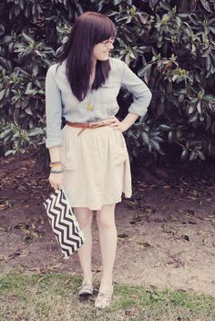 Chambray goes nicely with a chevron clutch
