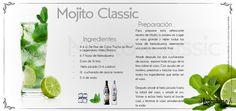"""Mojito Legendario Ingredientes:  -4-6 Cl.  de Elixir de Cuba """"Punch au Rhum"""" o Legendario Añejo Blanco -6-7 hojas de hierba buena -1/2 zumo de lima. -Hielo Picado (5-6 cubitos) -1/2 cucharada de azúcar moreno -5cl. de soda.  Vierte las hojas de hierbabuena, dos cucharadas de azúcar, exprime el jugo de la lima, con un mortero presiona y mezcla muy bien los ingredientes.  añade el hielo picado hasta la mitad del vaso y añade el ron. Pon más hielo en el vaso y añade soda hasta llenar el vaso."""