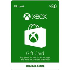 Xbox Gift Card USD 50 digital$54.37  Get an Xbox gift card for games and entertainment on Xbox and Windows Buy the latest games, map packs, movies, TV, music, apps and more* On Xbox One, buy and download blockbuster games the day they're released Great as a gift, allowance, or credit card alternative