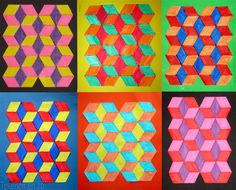 Several op art lessons Op Art Lessons, Art Lessons Elementary, 6th Grade Art, Grade 3, Sixth Grade, Math Art, Artists For Kids, School Art Projects, Middle School Art