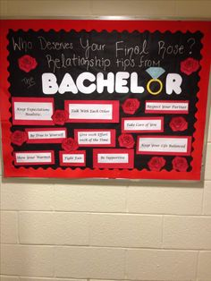"""""""Who deserves your final rose? Relationship tips from the bachelor"""" Who deserves your final rose? Relationship tips from the bachelor - evren February Bulletin Boards, College Bulletin Boards, Ra College, Ra Jobs, Student Council Campaign, Ra Programming, Ra Door Decs, Writing A Term Paper, Ra Bulletins"""