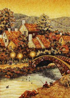 Bridge. Painting of amber, Kaliningrad, Russia