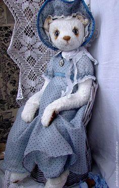 """Купить Кошка""""Блю"""" - голубой, кошка, белая кошка, белый, голубые глаза, платье в горошек"""