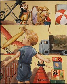 "DAVID BROMLEY ""Boy With Toys"" Original Acrylic on Canvas, Signed 60cm x 48cm"