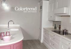 Walls: Shark Fin 0574 in Ceramic Matt finish. Woodwork: Pink Chocolate in Satinwood finish & Metro 0530 in Satinwood finish. Trending Paint Colors, Shark Fin, Pink Chocolate, First Home, Ideal Home, Color Trends, Sink, Walls, Woodworking