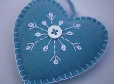 Felt Christmas Ornament, Scandinavian Heart, Embroidered Snowflake.. $8.00, via Etsy.