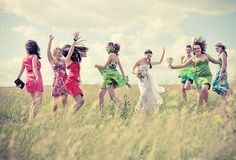 bridesmaids nature | Dancing in the field | motion, bride, bridesmaids, nature