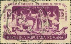 ~ Stamp No. 37: Romania ~ An unfortunate stamp (aside from its condition) in regard to bagpipes. No piper is shown, but rather what appear to be some pipes peek up from the behind the left end of the banner at the bottom of the stamp - unless these are someone's golf clubs. It's hard to tell.