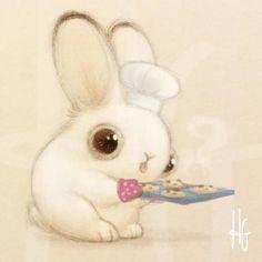 Baker Bunneh Bunny with Cookies by HeatherSketcheroos Heather Gross