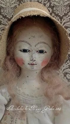 Wood jointed Queen Anne doll by Atticbabys© primitive folk art w/antique pocket