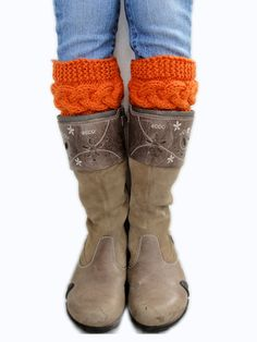Hey, I found this really awesome Etsy listing at https://www.etsy.com/listing/217565000/knitted-cable-boot-cuffs-knit-orange