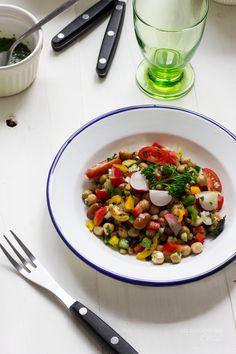 Ensalada de legumbres con emulsión del jugo de la cocción de Joan Roca (Cooking the Chef)