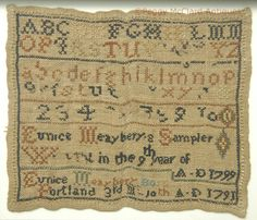 Antique Sampler of Eunice Maeyberry (Mayberry) from Portland Maine, dated 1799