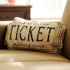 Black Movie Ticket Accent Pillow | Kirklands