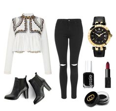 """""""▪️◾️⬛️◾️▪️"""" by karla-snyders on Polyvore featuring Isabel Marant, Topshop, SWEET MANGO, Versace, Essie, NARS Cosmetics and Gucci"""