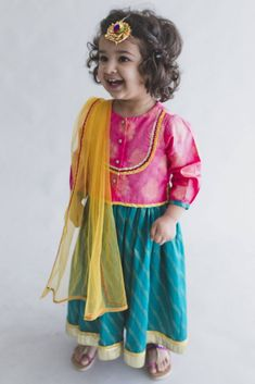 Pink Printed Cotton Jacquard Top with Blue Lehenga cum Dress and Yellow Net Dupatta - Set of 3 Baby Party Wear Dress, Baby Dress, Kids Indian Wear, Mother Daughter Fashion, Blue Lehenga, Designer Kids Clothes, Groom Wear, Kids Patterns, Traditional Outfits