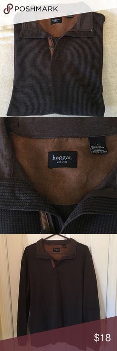 Men's pullover Hagar pullover with tiny houndstooth print. Cotton and poly. Great condition! Haggar Sweaters