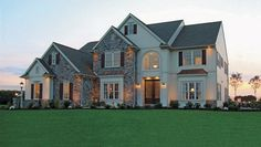 Beautiful stone and frame home...wonderful plan for country living.