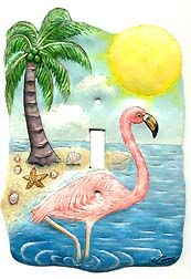 Tropical Pink Flamingo - Hand Painted Metal Single Switchplate Cover  - See more at www.TropicAccents.com