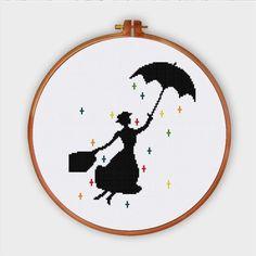 Mary Poppins cross stitch pattern pop culture modern nursery design