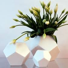 Matte White Faceted Vases, Modern Table Top Decor