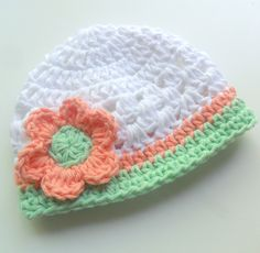 Baby Girl Hat, Girls Crochet Cotton Beanie Hat with Flower, Girls Hat, Summer, Spring Crochet Hat, White, Coral, Mint Green, MADE TO ORDER by Karenisa on Etsy https://www.etsy.com/listing/100031254/baby-girl-hat-girls-crochet-cotton